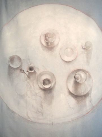 The round table of morning possibilities - silver point and ink on treated home linen 110 x 130 cm