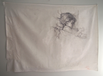 silver point and ink on treated fine bedsheet